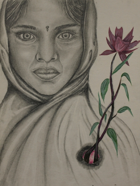 TitlePakistani Girl Portrait   Medium	Ebony Pencil   Size	9x12