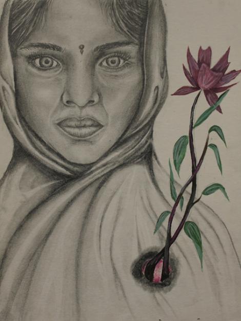 TitlePakistani Girl Portrait   MediumEbony Pencil   Size9x12