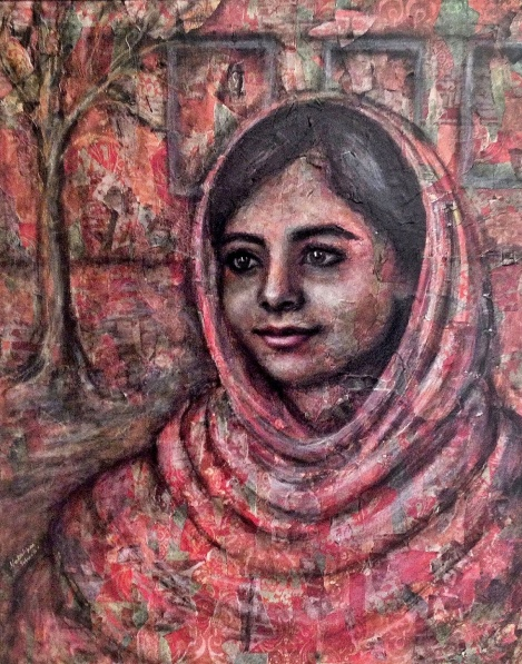 "TitleMalala   Medium	Mixed Media on Canvas   Size	30"" x 24"""
