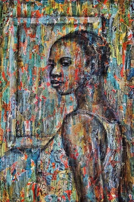 "TitleFrench Market   MediumMixed Media on Canvas   Size36"" x 24"""