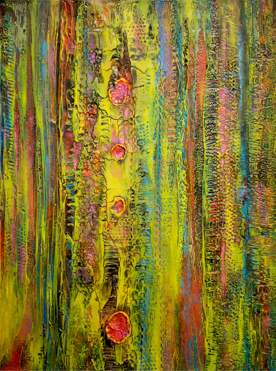 "Title ZEST   Medium Acrylic, Lacquer , Oil on canvas   Size 18"" x 24"""