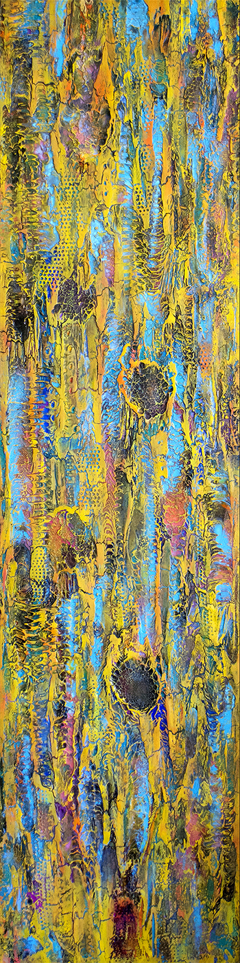 "Title Corpuscular Trails   Medium 	Acrylic, Lacquer. Oil on canvas   Size 	15"" x 60"""