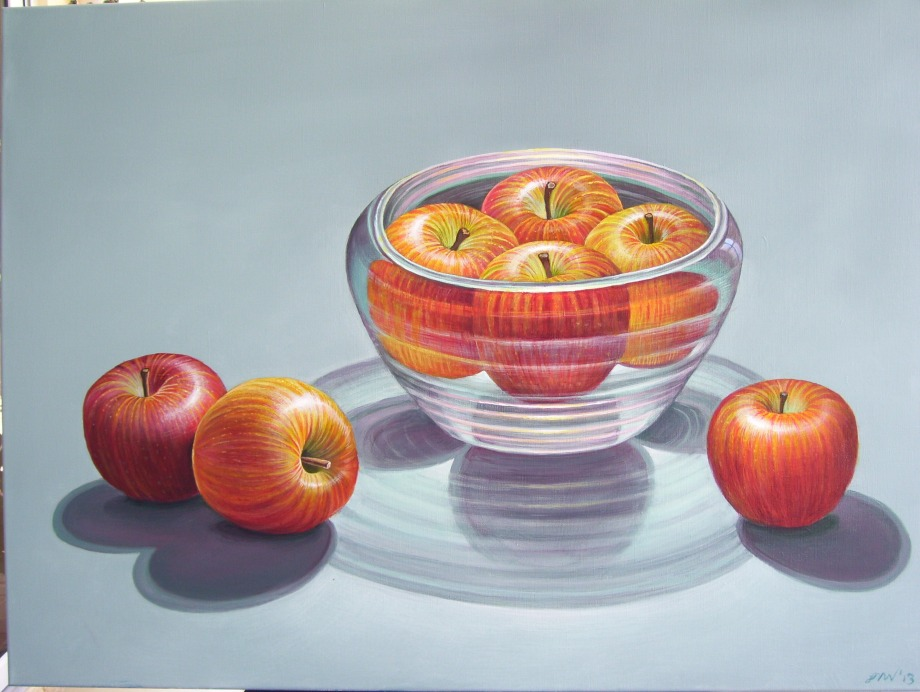 Title Apples in glass bowl   Medium acrylic on canvas   Size 36 x 40 inches
