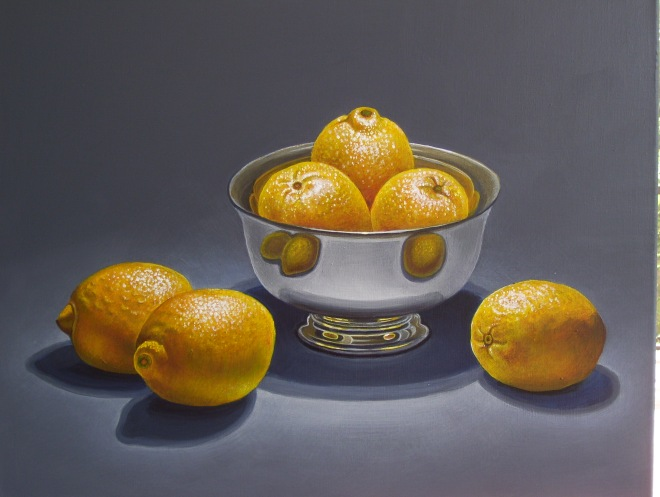 Title Lemons in silver bowl   Medium 	acrylic on canvas   Size 	24 x 30 inches