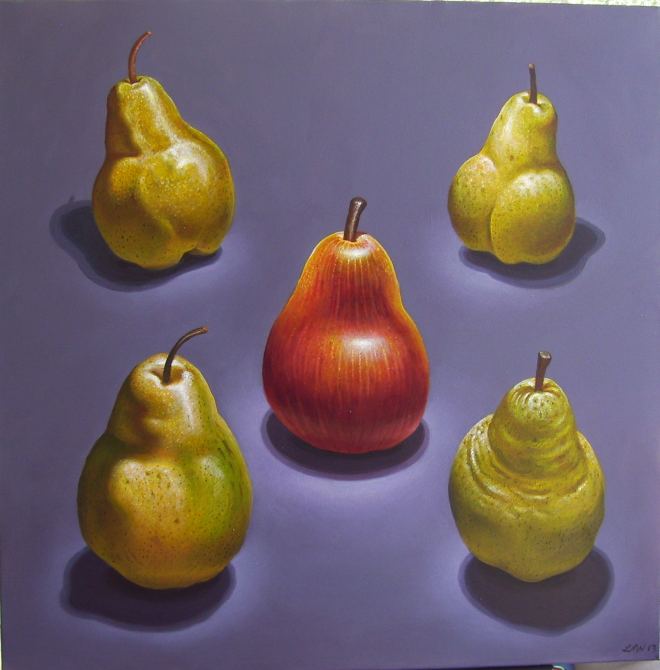 Title Red and yellow pears   Medium 	acrylic on canvas   Size 	36 x 36 inches