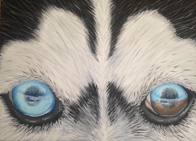 "Title Alaskan Fun   Medium Acrylic on Canvas   Size 16"" x 24"""