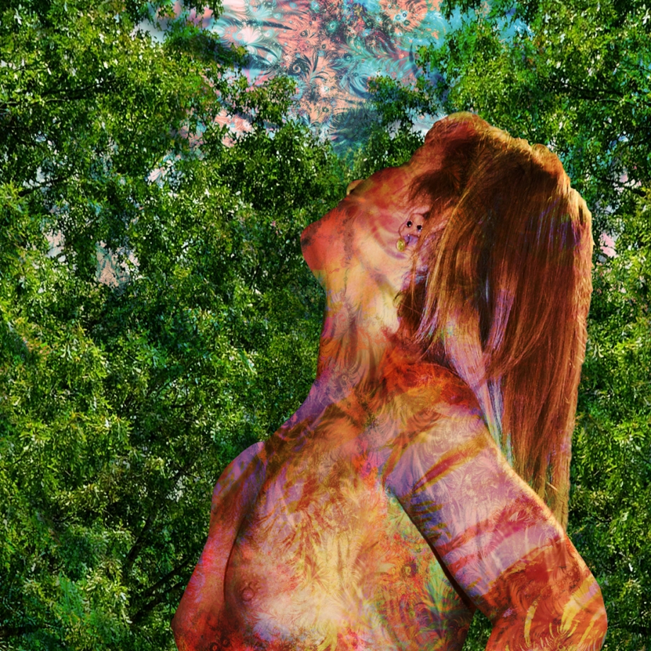 """Title Portrait of a Young Girl with a Fractal   Medium digital   Size 12""""x12"""""""
