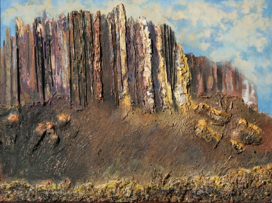 Title Susperstitious Mountain   Medium Acylic and collage   Size 30''x40''