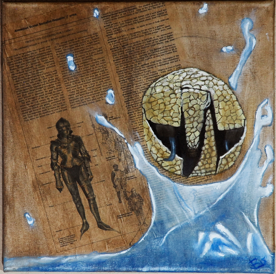 Title Armour and Armadillo   Medium Oil, Printed Material, and Charcoal on Canvas   Size 12 in x 12 in