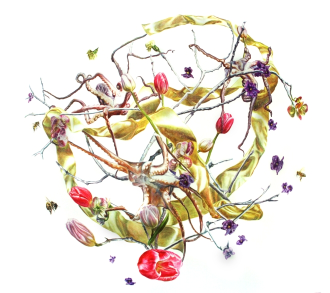 Title Tree of Life with Octopi and Tulips   Medium Watercolors on paper   Size 32x 39 inches