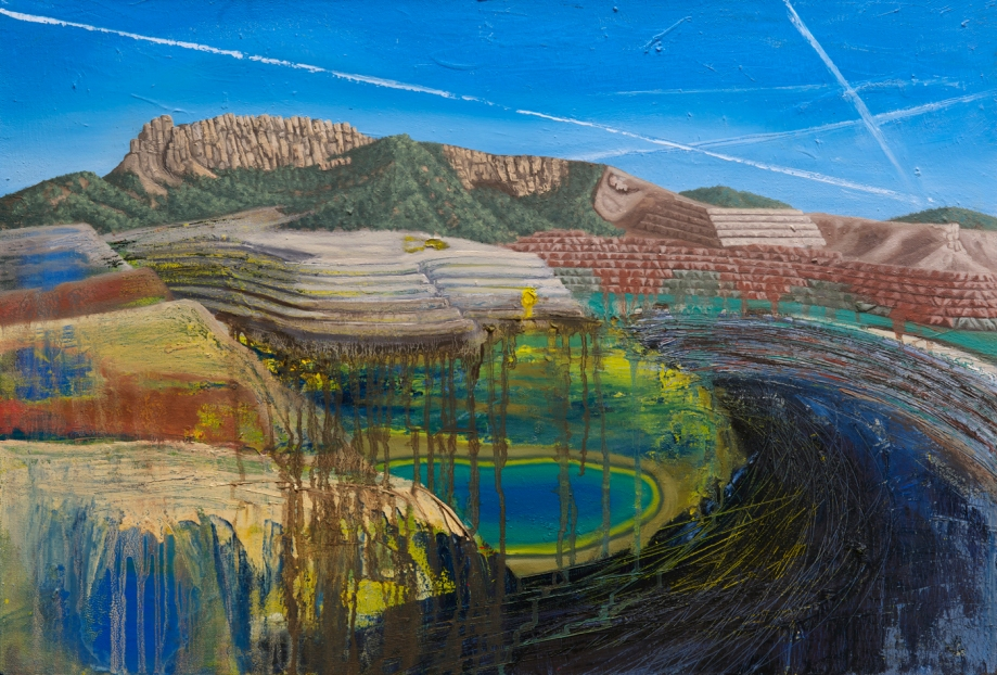 Title Happy Little Contrails   Medium 	Oil on Canvas   Size 	24 x 36 inches