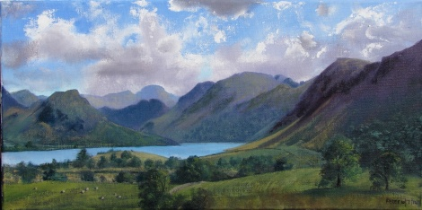 Title:Plein air sketch - In the Crummock Valley 10.7.14 Medium:	Oil Size:	25x50 cms
