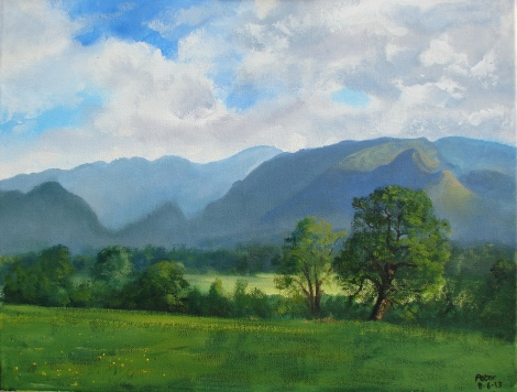 Title:Plein air sketch - Derwent Valley 8.6.13 Medium:	Oil Size:	36x46 cms