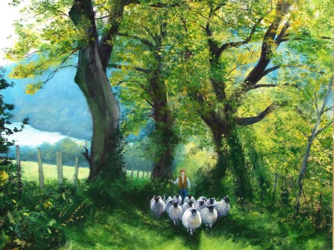 Title:The Loweswater Shepherd Medium:	Oil Size:	41x51 cms