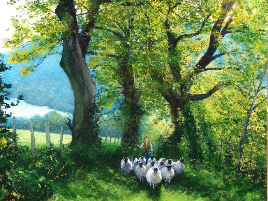 Title:The Loweswater Shepherd Medium:Oil Size:41x51 cms