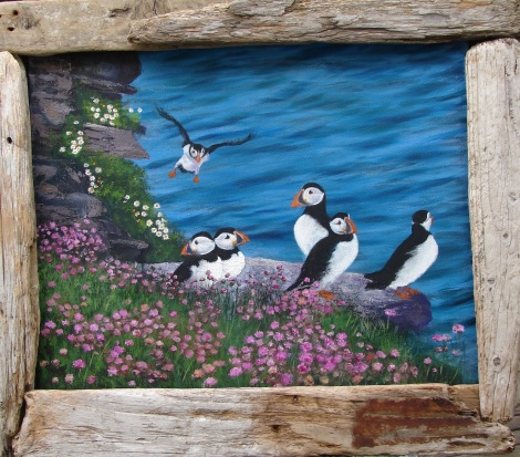 "Title:""Incoming!"" Shetland Puffins Medium:	oil Size:	41x51 cms"