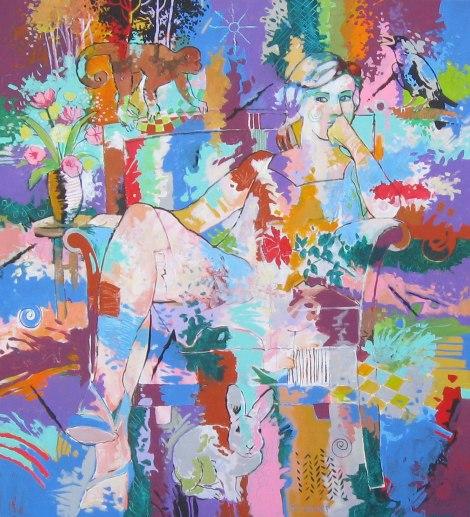"Title:Fauna Muse Medium:Acrylic Size:40"" x 36"""