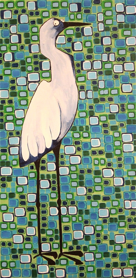 "Title:Harried Heron Medium:Acrylic Size:24""x12"""