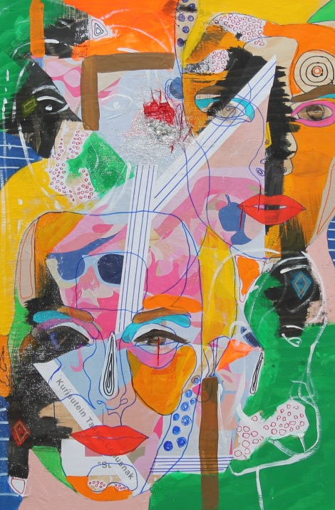 Title:Listen to Sugar Medium:Acrylic, gouache, ink, marker, paper, rhinestones, glitter Size:24x36