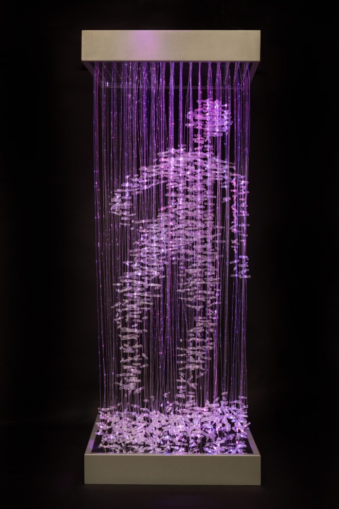Title Letting Go   Medium 	Fibre optic, LEDs, Kiln formed glass, mirror, steel   Size 	2400 x 810 x 910