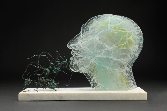 Title Synapse-Convergence with nature   Medium Reverse painted enamels, kiln formed glass, copper, marble   Size 600 x 420 x 150