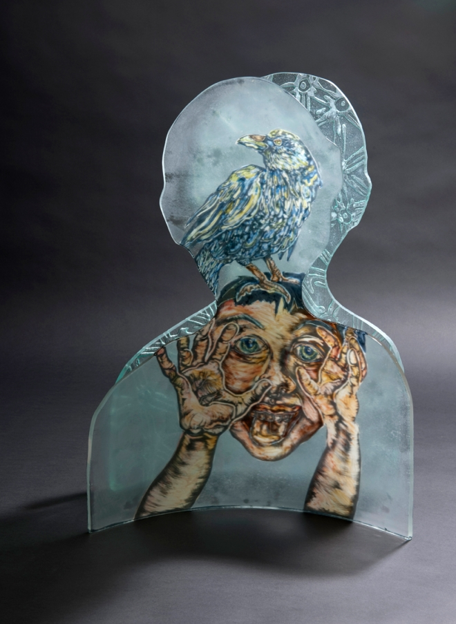 Title The getting of wisdom   Medium Reverse painted enamels, handcut, kiln formed glass   Size 650 x 445 x 440