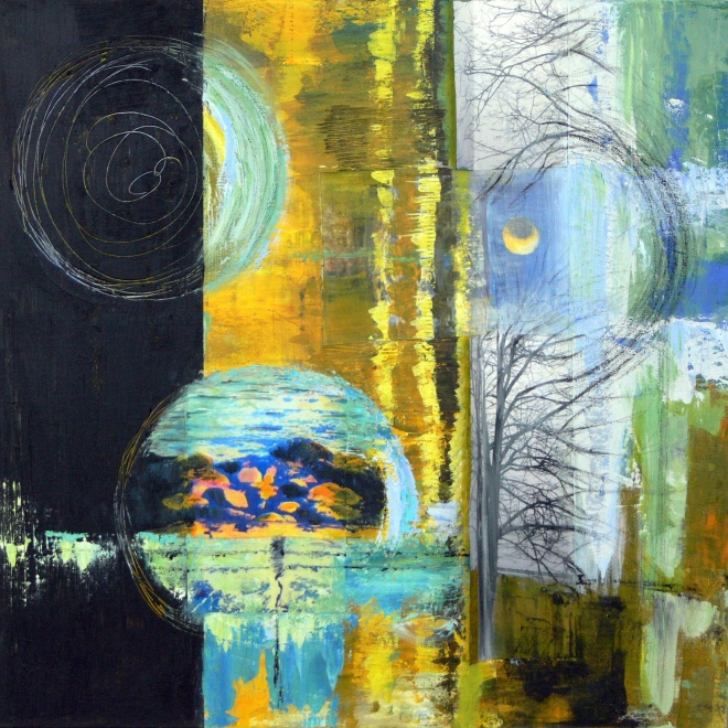 Title Moonlight Serenade   Medium 	Mixed Media   Size 	24x24