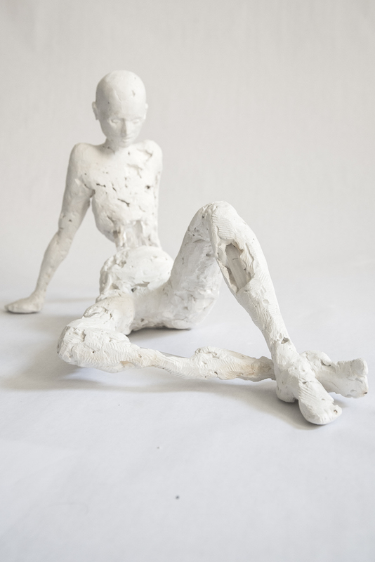 Title ANGELIQUE   Medium 	Plaster and Plexiglass on Wire   Size 	19x7x8""