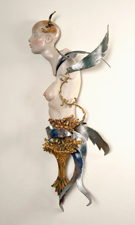 "Title:SIREN Medium:	Steel, resin, brass & found objects Size:	47"" x 24"" x 19"""
