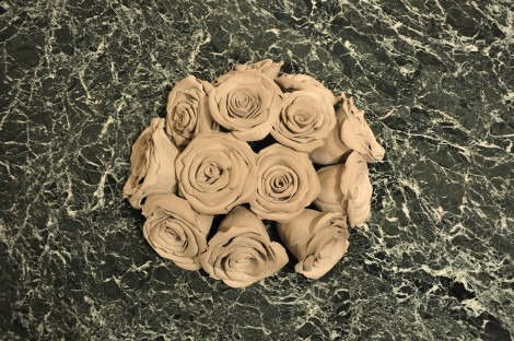 """Title:Bed of Roses Medium:Clay and marble Size:12 x 48 x 28"""""""