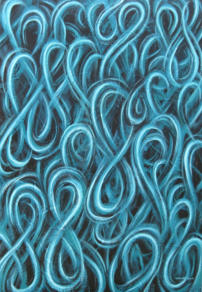 Title Blue Figure Eight Study Number 2   Medium  acrylic on canvas   Size 36