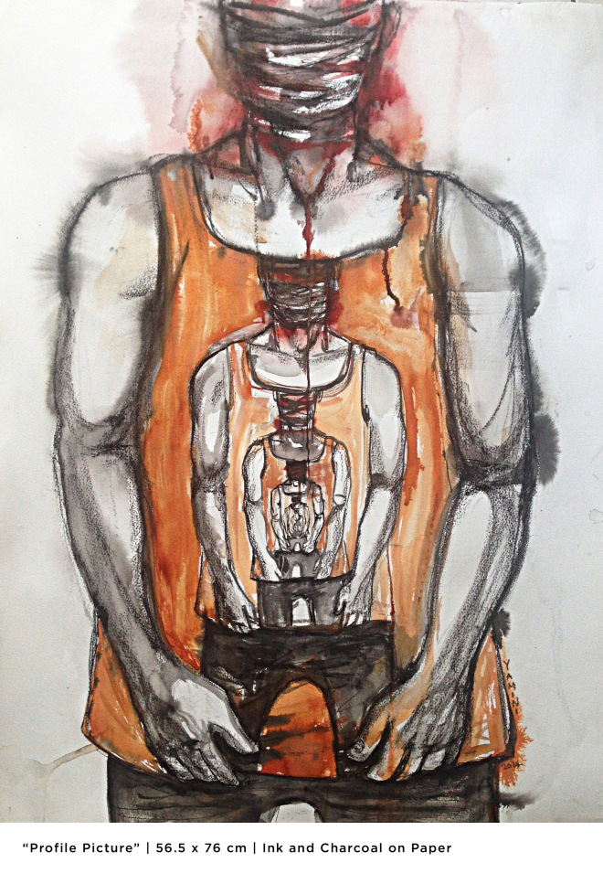 Title Profile Picture   Medium 	Ink & Charcoal   Size 	56.5cm X 76cm