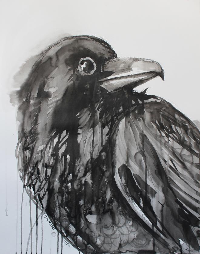 Title Crow Warrior   Medium Water Color   Size 56.5 cm X 68 cm