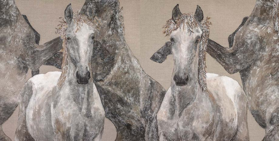 """Title:Eye of the Storm Diptych Medium:Acrylic on Raw Linen Size:72""""x36"""""""