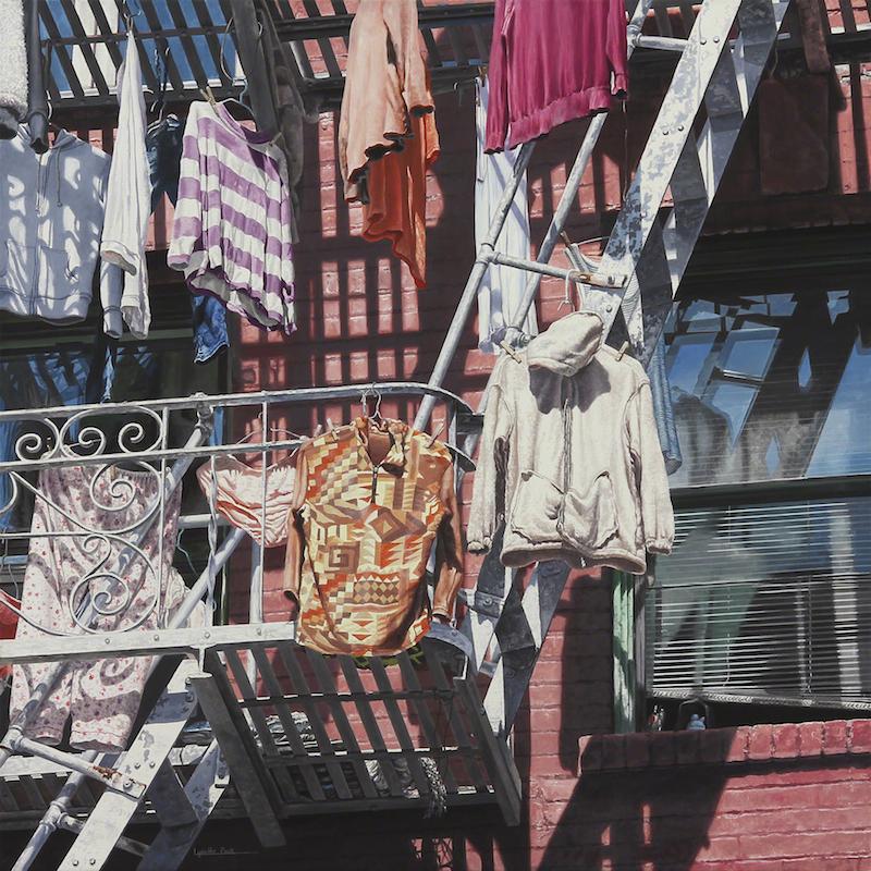 "Title:Clothes Lines Medium:Acrylic on Canvas Size:24"" x 24"""