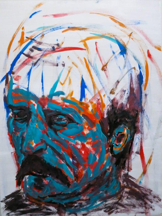 Title Teal Portrait 2   Medium Acrylic   Size 61x46cm