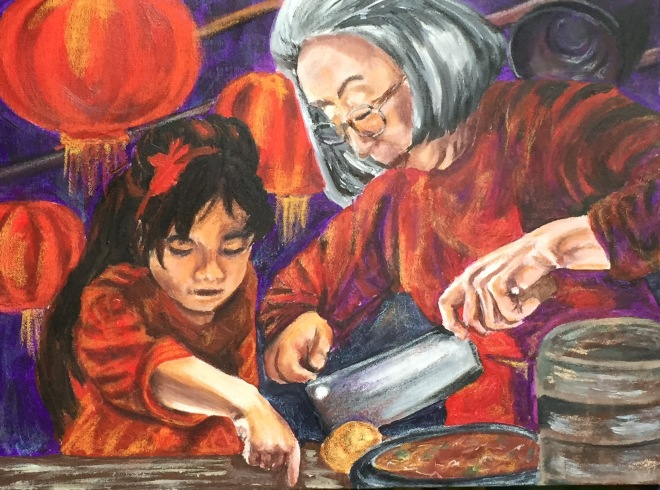 Title Family Feed   Medium Acrylic Paint (traditional)   Size 18in by 24in