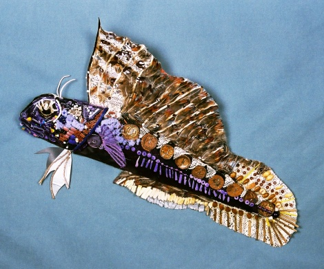 "Title:Sailfin Blenny Medium:	Assemblage Size:	14"" x 22"""