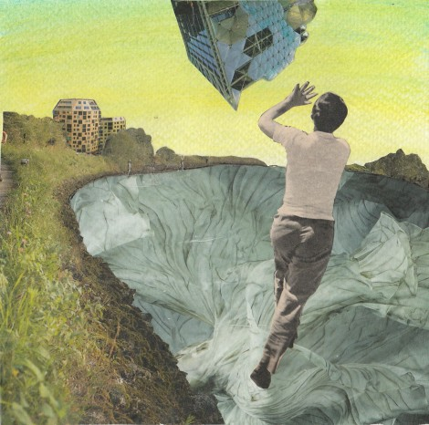 Title:Myth-building: Catch Medium:	collage & acrylic Size:	16x16cm