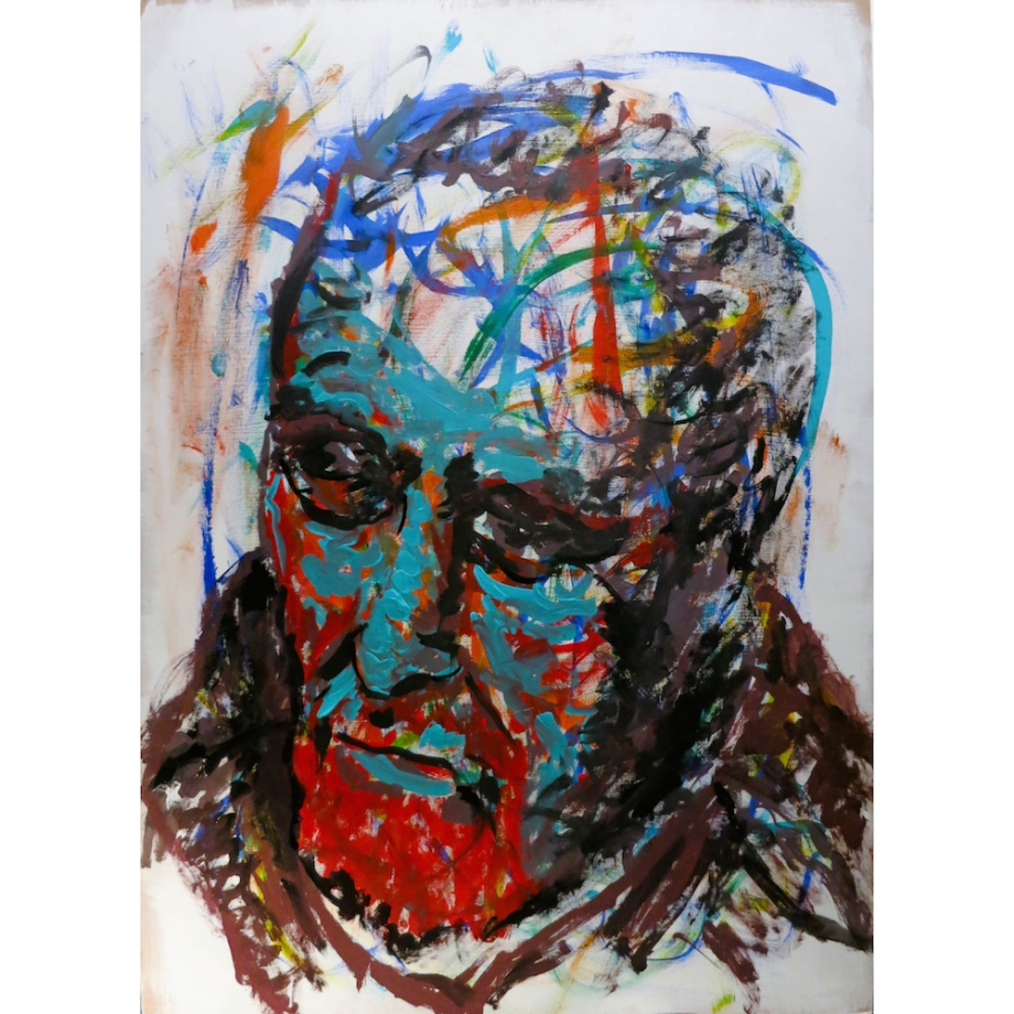 Title:Red and Teal Portrait Medium:Acrylic Size:70x50cm
