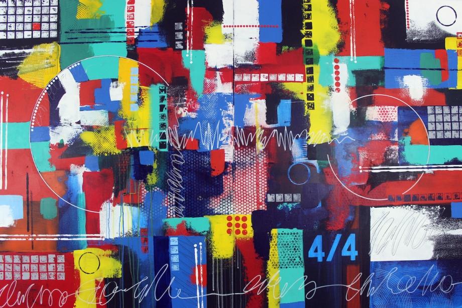 Title:Percussion Ensemble Medium:Acrylic on canvas Size:48 x 72