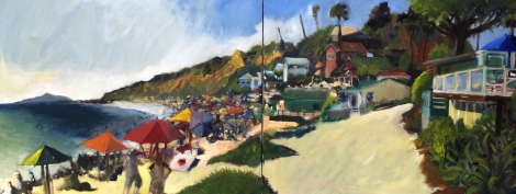 "Title:Wave Riders at Crystal Cove Medium:	Oil on Canvas Size:	16"" x 40"""