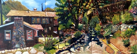 "Title:Home Medium:	Oil on Canvas Size:	16"" x 40"""