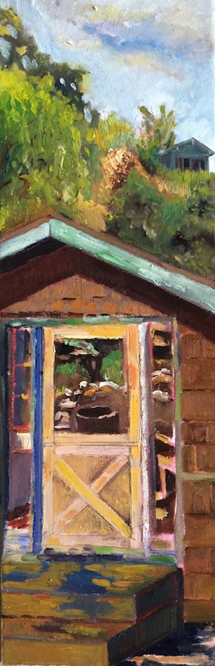 "Title:Dutch Door Medium:	Oil on Canvas Size:	24"" x 8"""