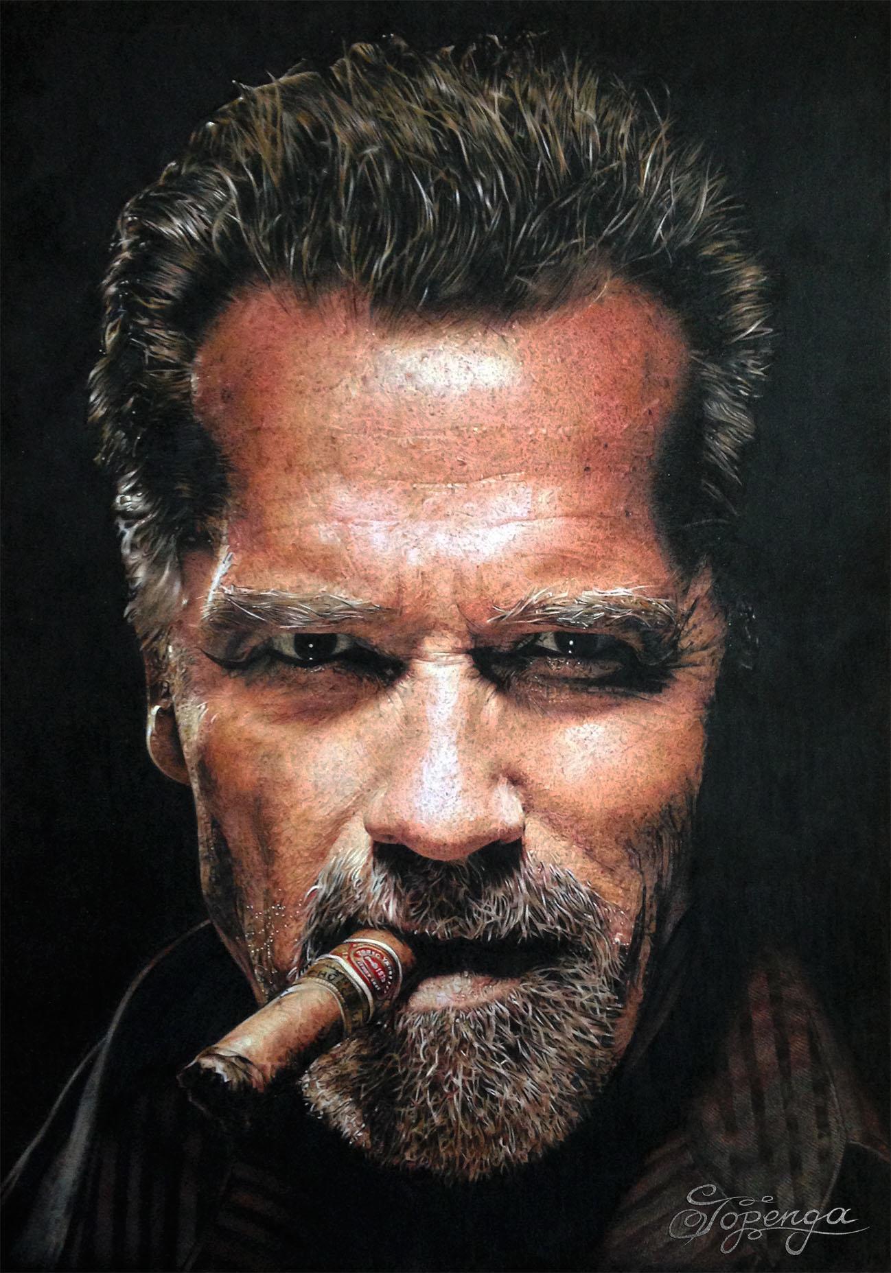 Title: Arnold Schwarzenegger Medium: Coloured Pencil Size: 29,7 x 42 cm