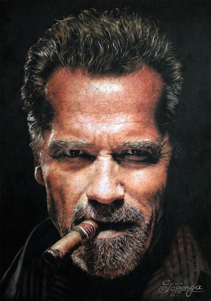 Title:Arnold Schwarzenegger Medium:Coloured Pencil Size:29,7 x 42 cm