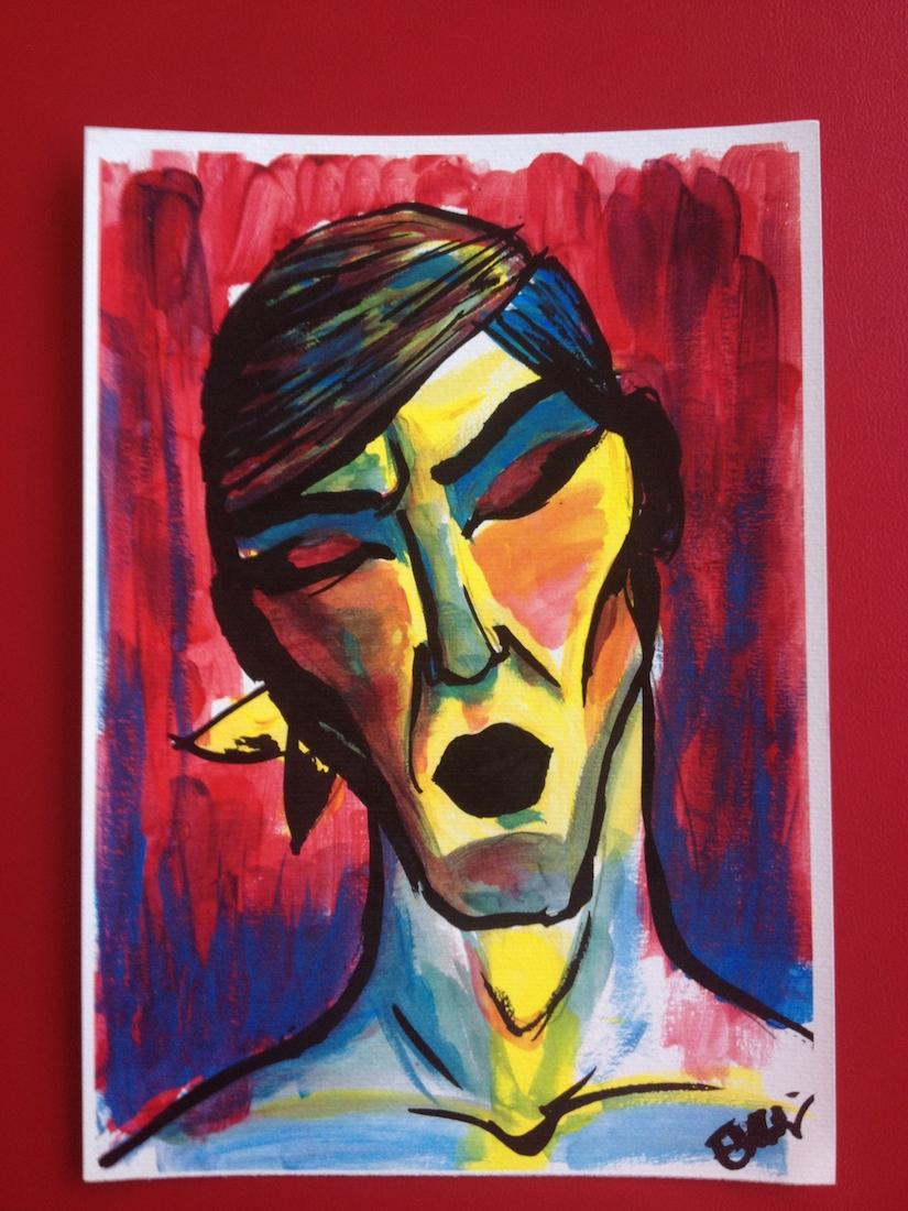 Title: Self portrait I Medium: Gouache on paper Size: 21,0 x 29,7 cm