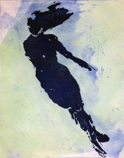 Title:Swimmer Medium:	sugar lift, acquaint, and mono print Size:	13 x 8 inches