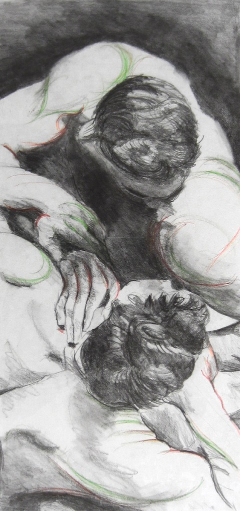 Title:Struggle Medium:	graphite and prismacolor Size:	20 x 11 inches