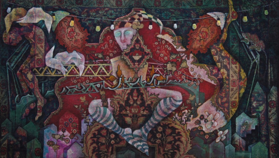 Title:World beneath our feet#2 Medium:	 Oil on Carpet Size:	180.130Cm